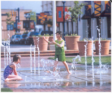 Plaza Children Playing Music Dancing Floor Fountain
