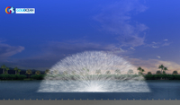 Laser screen fountains water screen for projector movie with lights