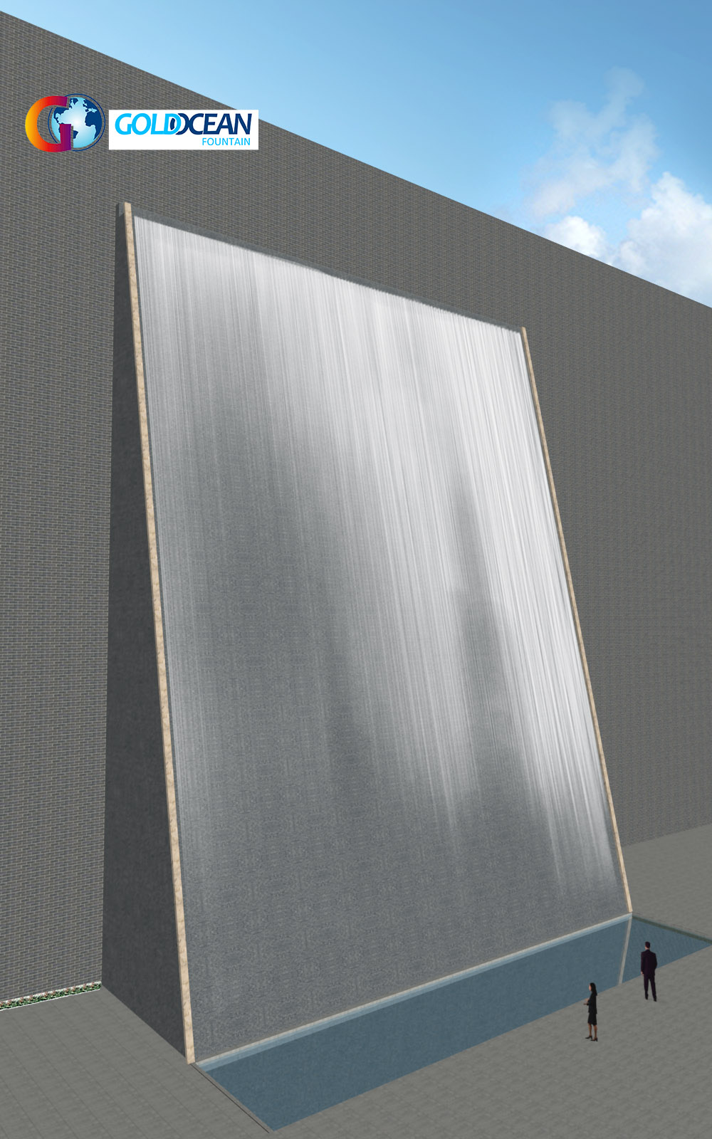 Outdoor Modern Stainless Steel Water Wall Waterfall