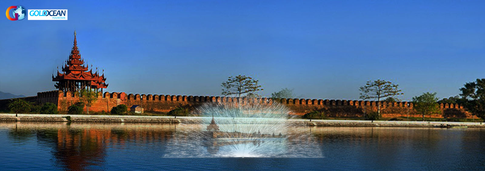 Lake Floating 70*12m Music Dancing Fountain with Water Screen